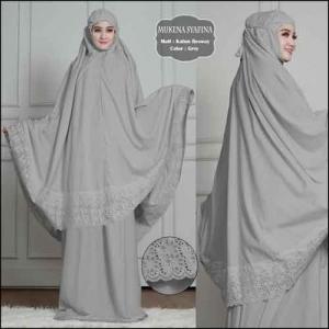 Mukena Polos Dengan Bordir Cantik Syafina Warna Abu Bahan Rosela