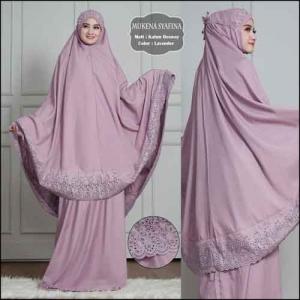 Mukena Polos Dengan Bordir Cantik Syafina Warna Lavender Bahan Rosela