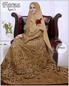 Supllier Baju Gamis Pesta Mewah Farza Syar'i Warna Choco Bahan Brukat