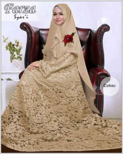 Supllier Baju Gamis Pesta Mewah Farza Syar'i Warna Coksu Bahan Brukat