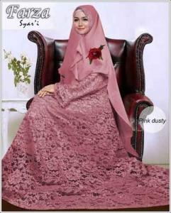 Supllier Baju Gamis Pesta Mewah Farza Syar'i Warna Pink Dusty Bahan Brukat