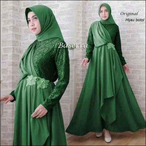 Baju Pesta Hijabers Baserra Dress Warna Hijau Botol Bahan Moscrepe