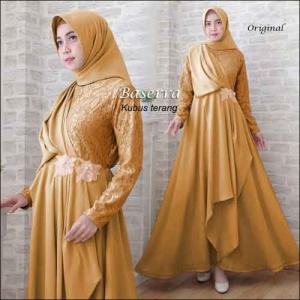 Baju Pesta Hijabers Baserra Dress Warna Kutus Terang Bahan Moscrepe