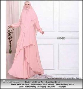 Jual Grosir Baju Gamis Pesta Polos Moez Syar'i Warna Pink Muda Bahan Ceruty