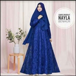 Jual Online Baju Gamis Pesta Murah Nayla Syar'i warna Benhur Bahan Brukat