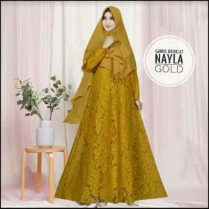 Jual Online Baju Gamis Pesta Murah Nayla Syar'i warna Gold Bahan Brukat