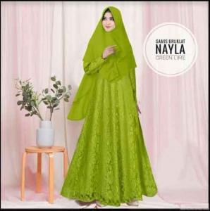 Jual Online Baju Gamis Pesta Murah Nayla Syar'i warna Green Lime Bahan Brukat