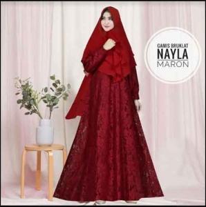 Jual Online Baju Gamis Pesta Murah Nayla Syar'i warna Maron Bahan Brukat