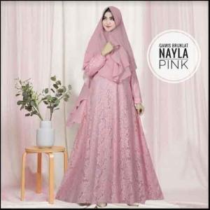 Jual Online Baju Gamis Pesta Murah Nayla Syar'i warna Pink Bahan Brukat