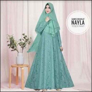 Jual Online Baju Gamis Pesta Murah Nayla Syar'i warna Tosca Mint Bahan Brukat