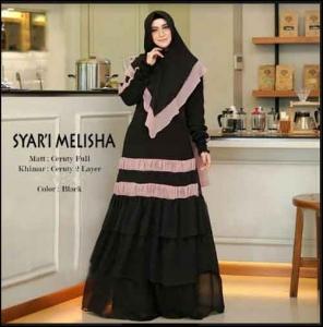 Supplier Baju Gamis Pesta Terbaru Melisha Syar'i Warna Black Bahan Ceruty