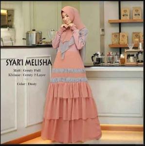 Supplier Baju Gamis Pesta Terbaru Melisha Syar'i Warna Dusty Bahan Ceruty