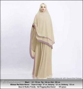 Supplier Gamis Pesta Muslimah Kitty Syar'i Warna Coklat Muda Bahan Ceruty