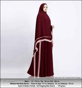 Supplier Gamis Pesta Muslimah Kitty Syar'i Warna Maron Bahan Ceruty