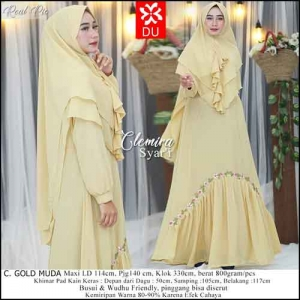 Supplier Baju Gamis Pesta Cantik Terbaru Clemira Syar'i warna Gold Muda Bahan Ceruti