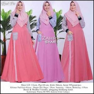 Gamis Daily Murah Zahra Maxi Tiga model Warna Bahan woolpeach