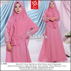 Baju Gamis Pesta Kirana Syar'i warna pink bahan Ceruti Kombinasi Bordir