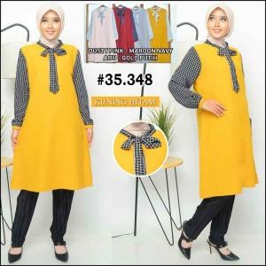 Baju Tunik Modern Terbaru 2020 Dinda Tunik Warna Kuning Bahan Linen Rami