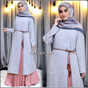 Jual Online Baju Muslim Modern Safiya Set Warna Silver Bahan Kaos Rajut Kombi Moscrepe