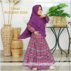 Baju Gamis Anak Perempuan Burbery Kids Syar'i warna Purple bahan wolfis
