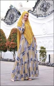 Baju Gamis Cantik Murah Iswara Six Dress warna Cream Bahan Rayon