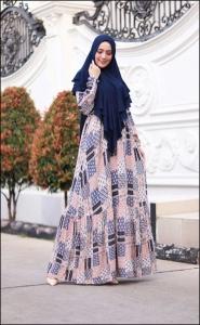 Baju Gamis Cantik Murah Iswara Six Dress warna Navy Bahan Rayon
