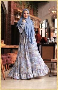 Gamis Geisha Syar'i bermotif terbaru warna Blue Bahan Maxmara Lux