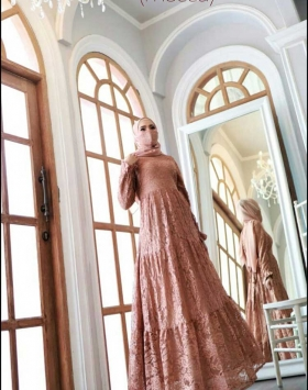Areta Dress Warna Broklat Mocca Bahan Brokat Premium 1