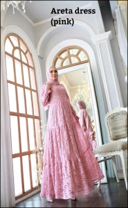 Areta Dress Warna pink Bahan Brokat Premium