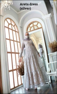 Areta Dress Warna silver Bahan Brokat Premium