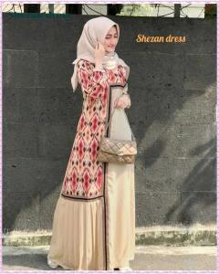 Jual Online Gamis Polos Kombinasi Shezan Dress dengan motif Tenun Bahan woolpeach