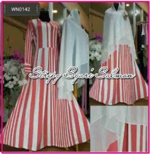 Baju Gamis Cantik Syar'i Bahan Jersey Kombi Khimar Jumbo Stripy Syar'i-1