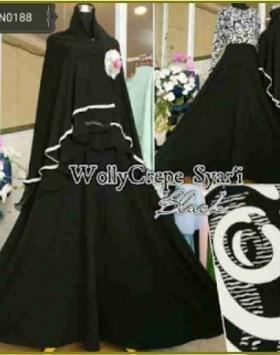 Gamis Busui Model Payung Wolly Syar'i Black