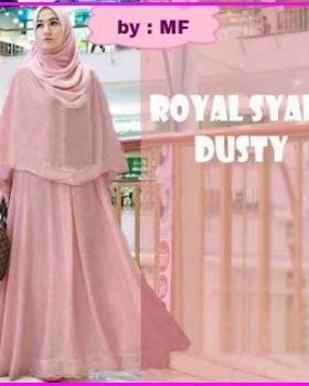 Gamis Cantik Kombinasi Renda Royal Syar'i Dustty