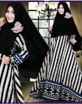Gamis Cantik Syar'i Set Bergo Murah Cammelia Syar'i Stripe