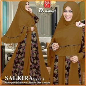 Baju Gamis Cantik Dengan Kombinasi 2 Bahan Salkira Syar'i-1