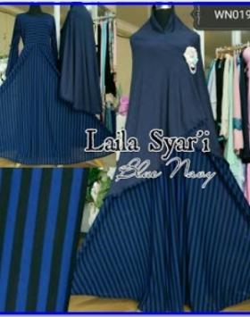Baju Gamis Terbaru Jumbo Laila Syar'i Monochrome-2