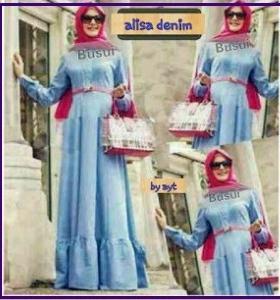 Busana Muslim Casual dengan bahan Denim Alisa Dress