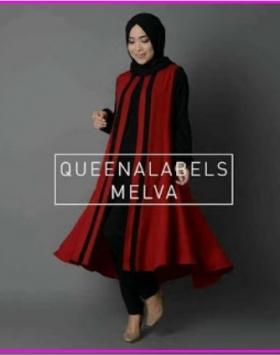 Busana Muslim Modern Bahan Jersey Melva Red