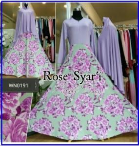 Gamis Cantik Syar'i Motif Bunga Mawar Rose Syar'i