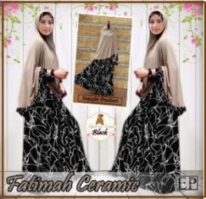 Gamis Jumbo Syar'i Dengan Bergo Fatimah Ceramic