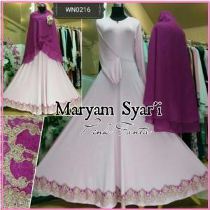 Baju Gamis Terbaru Kombinasi Renda Maryam Syar'i