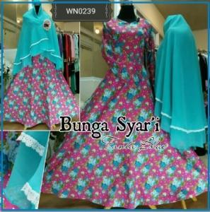 Baju Gamis Bahan Katun Cantik Bunga Syar'i-1