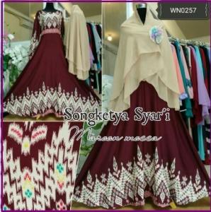 Baju Gamis Bahan Katun Songketya Syar'i