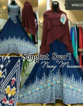 Busana Muslim Lebaran Songket Syar'i-2 Bahan Katun