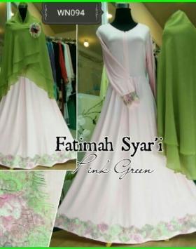 Gamis Fatimah Syar'i Dengan Kombinasi Renda Brukat