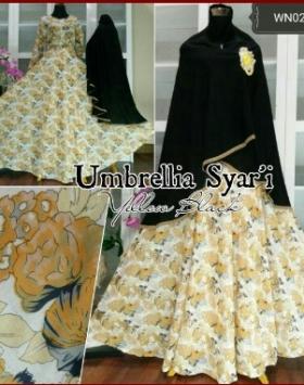 Baju Gamis CAntik Bahan Katun Umbrelia Syar'i