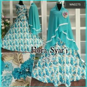 Baju Gamis Cantik Bahan Katun Import -1Flora Syar'i