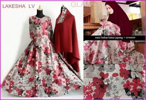 Baju Gamis Cantik Bahan Katun Jepang Lakesha LV
