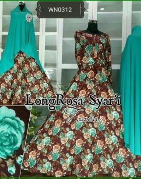 Baju Gamis Katun Terbaru Long Rosa Syar'i-1